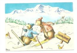 Cp, Humour, Yodle Et Grison Les Deux Marmottes Au Ski - Humour
