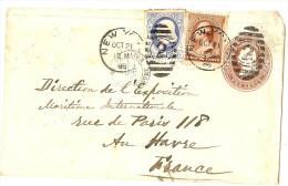 LACLX- ETAT UNIS EP ENV 2c NEW YORK / LE HAVRE OCTOBRE 1886 - Entiers Postaux