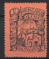 Vignette Publicitaire V. Hungarian Da Esperantista Kongreso Pécs 1923, église - Vignetten (Erinnophilie)