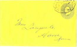LACLX- ETAT UNIS EP ENV 1c CHICAGO/ LE HAVRE ARRIVEE AU VERSO MAI 1882 - Entiers Postaux
