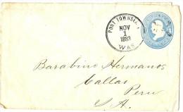 LACLX- ETAT UNIS EP ENV 1c PORT TOWSEND / CALLAO (PEROU) 1/11/1883 - Entiers Postaux