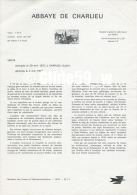 Document Philatélique Officiel Du Ministère Des Postes Et Télécommunications - ABBAYE DE CHARLIEU - Documents De La Poste