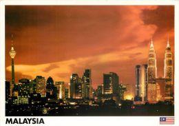 Skyline At Night Kuala Lumpur Malaysia Postcard Used Posted To UK 2000s Gb Stamp - Malaysia