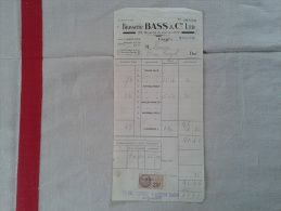 BRASSERIE BASS RUE DE LA JONQUIÈRE À PARIS( 75000). FACTURE DATÉE 1930. - France