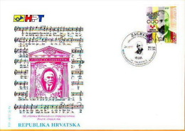 Croatia Fdc 1994 Y FDC Olympic Committee Franjo Bucar Mi No 292 Postmark Zagreb 10.09.1994.Coubertin - Zonder Classificatie