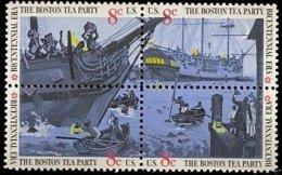 USA 1973 British Merchantman Boston Tea Party Stamps Sc#1480-83 1483a Harbor Ship Tax History - Drinks