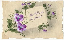 Carte Dessin Main Pensée Du Front Violette  Texte Horrible Guerre Envoi Les Bordes Cernay - Patriotiques