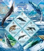 slm13414a Solomon Is. 2013 Australian Fauna Whales s/s