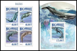 m13426ab Mozambique 2013 Whales 2 s/s