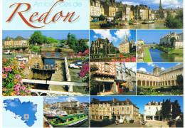 Carte Géographique De La Bretagne : Multivues De REDON_35, Petite Carte De La Bretagne En Bas, Ed Jos N° 3523609513 - Cartes Géographiques