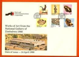 ZIMBABWE, 1988, Mint FDC, National Galleries,   Nrs. 378-383 , F644 - Zimbabwe (1980-...)