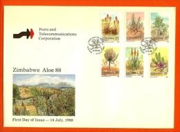 ZIMBABWE, 1988, Mint FDC, Flora Aloe   Nrs. 384-389 , F680 - Zimbabwe (1980-...)