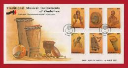 ZIMBABWE, 1991, Mint FDC, Traditional Music Instruments   Nrs. 454-459, F709 - Zimbabwe (1980-...)