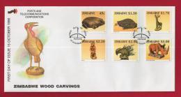 ZIMBABWE, 1996, Mint FDC, Animal Wood Sculptures,  Nrs. 583-588, , F722 - Zimbabwe (1980-...)