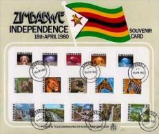 ZIMBABWE, 1980, Mint FDC, Definitives (souvenir Card  Nrs. 227-241, , F602 - Zimbabwe (1980-...)