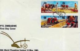 ZIMBABWE, 1983, Mint FDC, World Ploughing Championship  Nrs. 276-279, , F604 - Zimbabwe (1980-...)