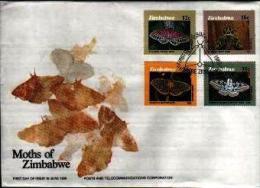 ZIMBABWE, 1986, Mint FDC, Butterflies (moths),  Nrs. 344-347 , F760 - Zimbabwe (1980-...)