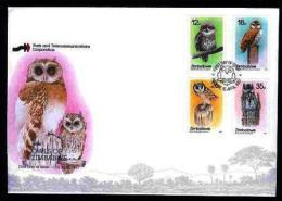 ZIMBABWE, 1987, Mint FDC, Owls,  Nrs. 360-363, F660 - Zimbabwe (1980-...)