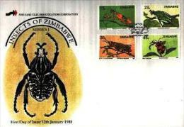 ZIMBABWE, 1988, Mint FDC, Insects,  Nrs. 374-377, F679 - Zimbabwe (1980-...)