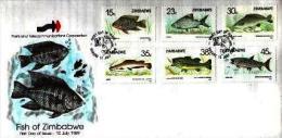 ZIMBABWE, 1989, Mint FDC, Fishes Of Zimbabwe  Nrs. 406-411, F541 - Zimbabwe (1980-...)