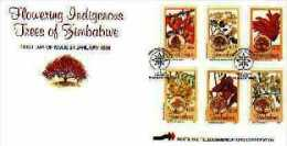 ZIMBABWE, 1996,, Mint FDC, Indigenous Trees. , Nrs. 568-573, F719 - Zimbabwe (1980-...)