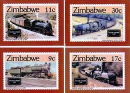 ZIMBABWE, 1985, Mint Maxi Cards, Locomotives , Nrs. 303-306, F520 - Zimbabwe (1980-...)
