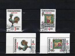 Prager Burg Wetterhahn Königsinitiale CSSR 2773/4+2Eckrand O 4€ Kunst St-Veits-Dom In Prag Burg Art Set Tschechoslowakei - Collections, Lots & Series