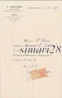 J. BAUME - CHIRURGIEN-DENTISTE - VILLEFRANCHE - LE  31/12/1919 - Unclassified