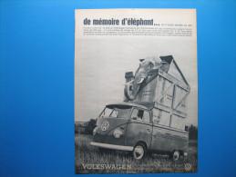 Publicité 1961 VOLKSWAGEN PICK-UP   -   De Mémoire D´éléphant... On N´avait Jamais Vu ça ! - Advertising
