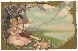 Cerf Volant Enfants Jouant Pike Art Card Ballerini Fratini Firenze - Jeux Et Jouets