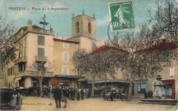 84 - Pertuis - Place Du 4 Septembre (colorisée) (automobile) - Pertuis