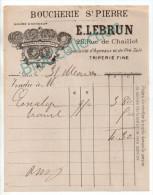 Paris, Boucherie Saint-Pierre, E. Lebrun, Rue De Chaillot, Triperie, Facture 1890.... - 1800 – 1899