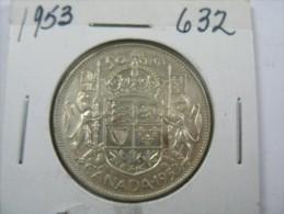 CANADA  HALF DOLLAR 50 CENTS SILVER  COIN 1953 - Monnaies & Billets