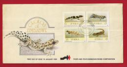 ZIMBABWE, 1989, Mint FDC, Geckos Of Zimbabwe, 396-399 - Zimbabwe (1980-...)