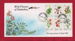 ZIMBABWE, 1989, Mint FDC, Wild Flowers Of Zimbabwe, 400-405 - Zimbabwe (1980-...)