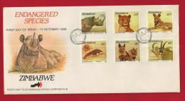 ZIMBABWE, 1989, Mint FDC, Endangered Species, 412-417 - Zimbabwe (1980-...)