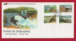 ZIMBABWE, 1996, Mint FDC, Dams Of Zimbabwe,  574-577 F720 - Zimbabwe (1980-...)