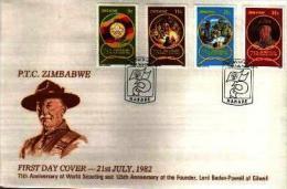 ZIMBABWE, 1982, Mint FDC, Scouting, Michel Nr. 265-268 F744 - Zimbabwe (1980-...)