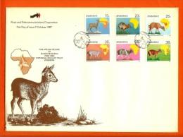 ZIMBABWE, 1987, Mint FDC, Wildlife, ,  Nr368-373,  F674 - Zimbabwe (1980-...)