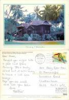 Kampung House, Penang, Malaysia Postcard Posted 2008 Singapore Stamp - Malaysia