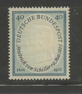 GERMANY, 1955,unused, Hinged Stamp(s), Friedrich Von Schiller, Nr(s). 210, #12737 - [7] Federal Republic