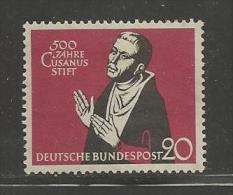 GERMANY, 1958, Unused, Hinged Stamp(s), Cusanusstift ,nr(s) 301  #12906 - [7] Federal Republic