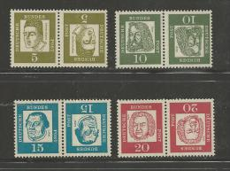 GERMANY, 1961, Mint Never Hinged Stamp(s), Famous German People,  Nr(s) 347=352,   #12914 (4 Combinations) - [7] Federal Republic