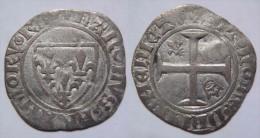 Normandie Seine Maritime Rouen Demi Guénar (petit Blanc à L'écu) Charles VI 1389 - Rare - 1380-1422 Charles VI Le Fol