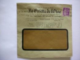 COMPIEGNE LA GAZETTE DE L´OISE 13-15 RUE EUG.FLOQUET ENVELOPPE DE 1937 - France