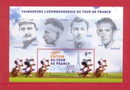 4.- 007 LUXEMBOURG 2013.  MINIATURE SHEET. TOUR OF FRANCE. TOUR DE FRANCE CYCLING. BIKE. - Ungebraucht