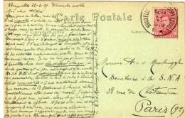 1604    Postal Bruxelles 1919  Belgica - Bélgica