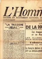 JOURNAL  - L' HOMME LIBRE  Du 8 Septembre 1944 - Au Dos Nouvelle Liste Des Détenus Du Frontstalag 122 à Compiègne. - Journaux - Quotidiens