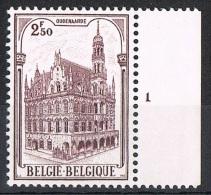 Année 1959 - COB 1108  N° Pl 1  -  Hotel De Ville D'Oudenaarde  -  Cote  0,35 € - Unused Stamps
