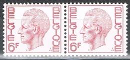 Année 1972 - COB  1646  En Paire -  SM Le Roi Baudouin  -  6F Rouge  -  Cote  1,00 € - Belgium